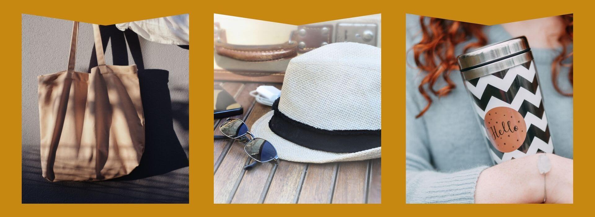 Tote bag, sun hat, tumbler