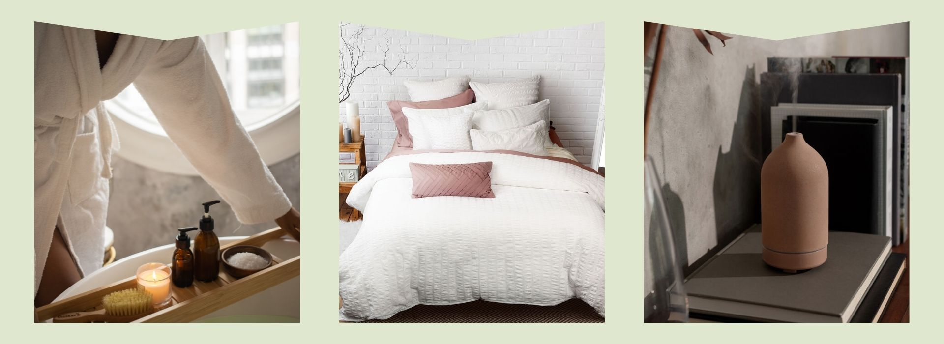 Robe, bedding, diffuser