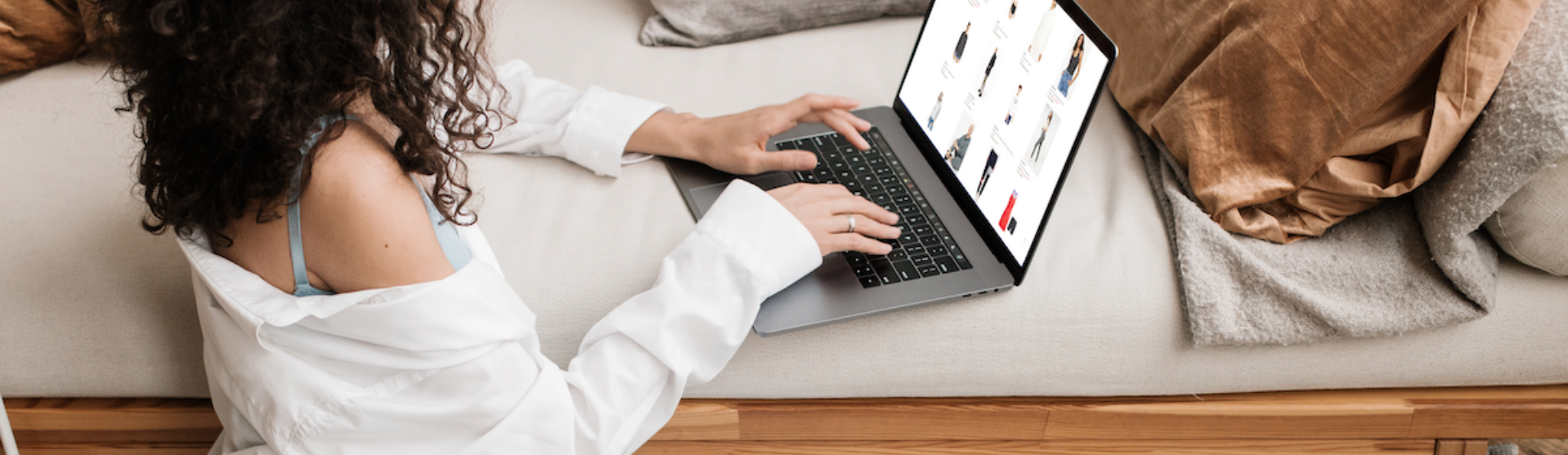 Woman shopping online with a laptop
