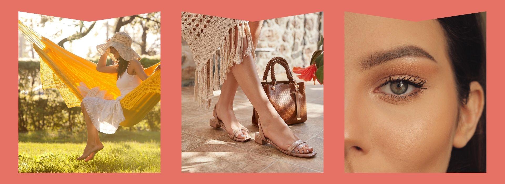 Flowy dress, sandals, woman's eyelashes