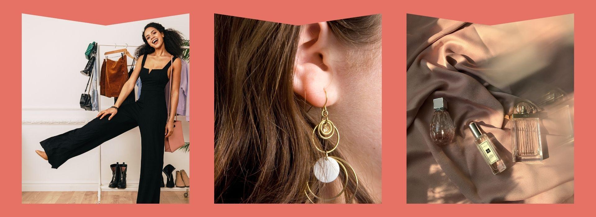 Rompers, earrings, perfume