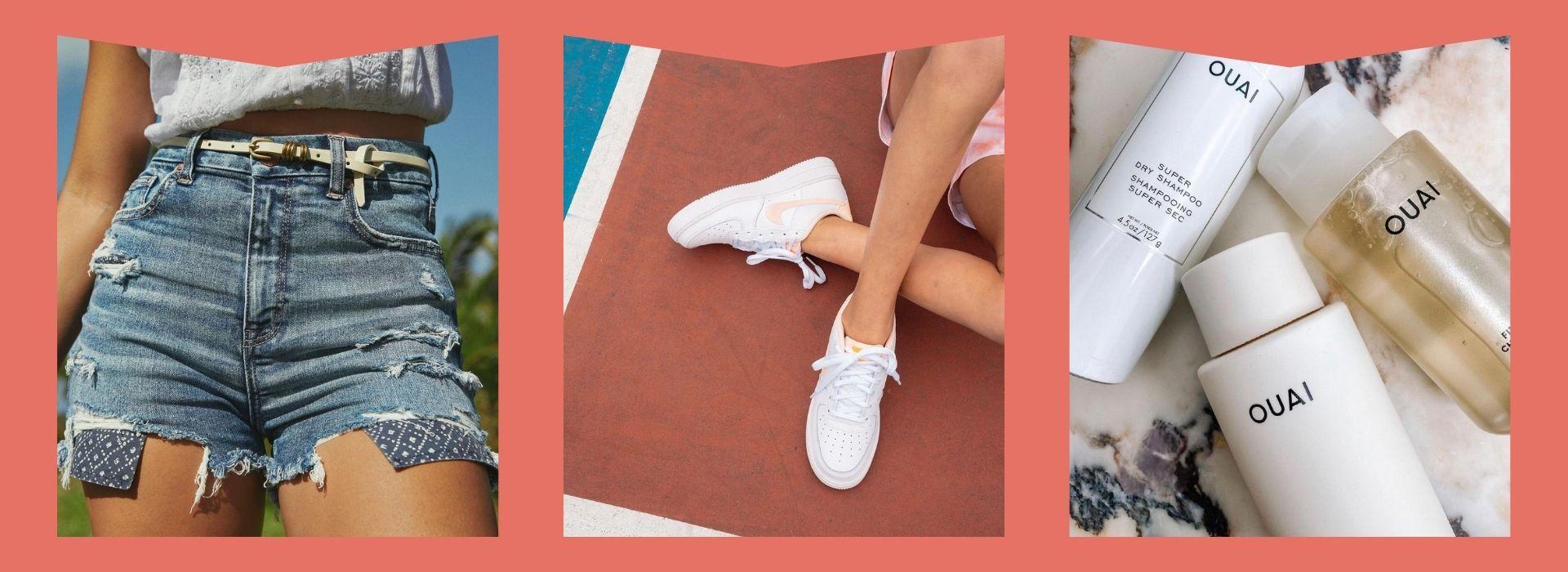 Denim shorts, sneakers, dry shampoo