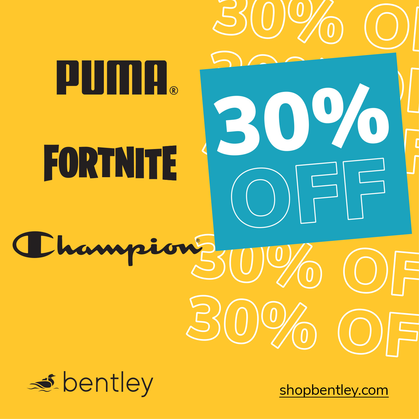 Promotional poster for Bentley offering 30% select items
