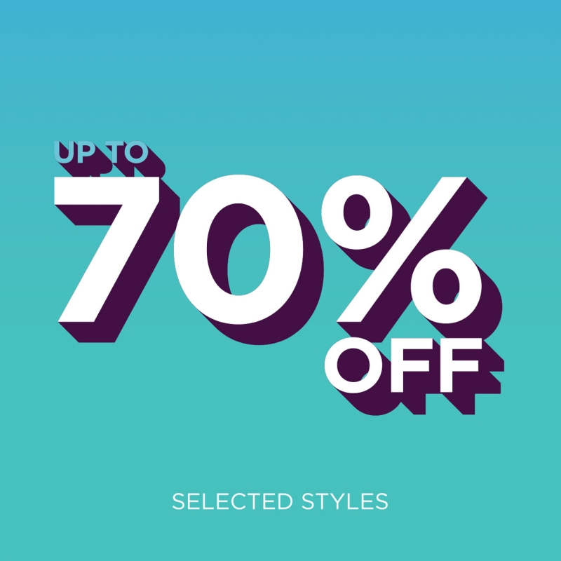 Up to 70% Off blue graphic