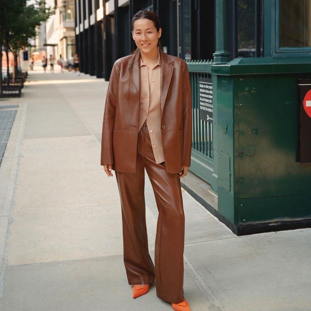 Brown leather pantsuit set