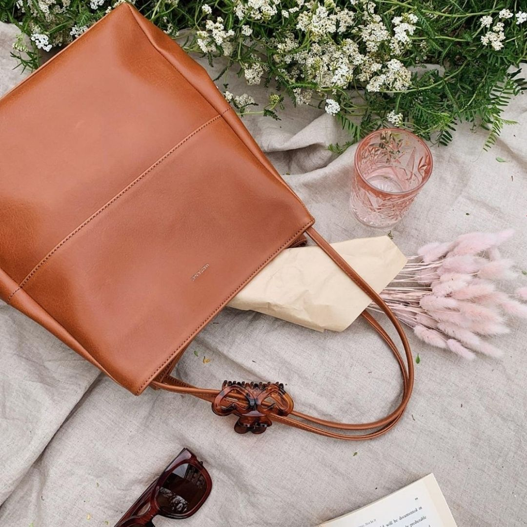 Leather bag flatlay