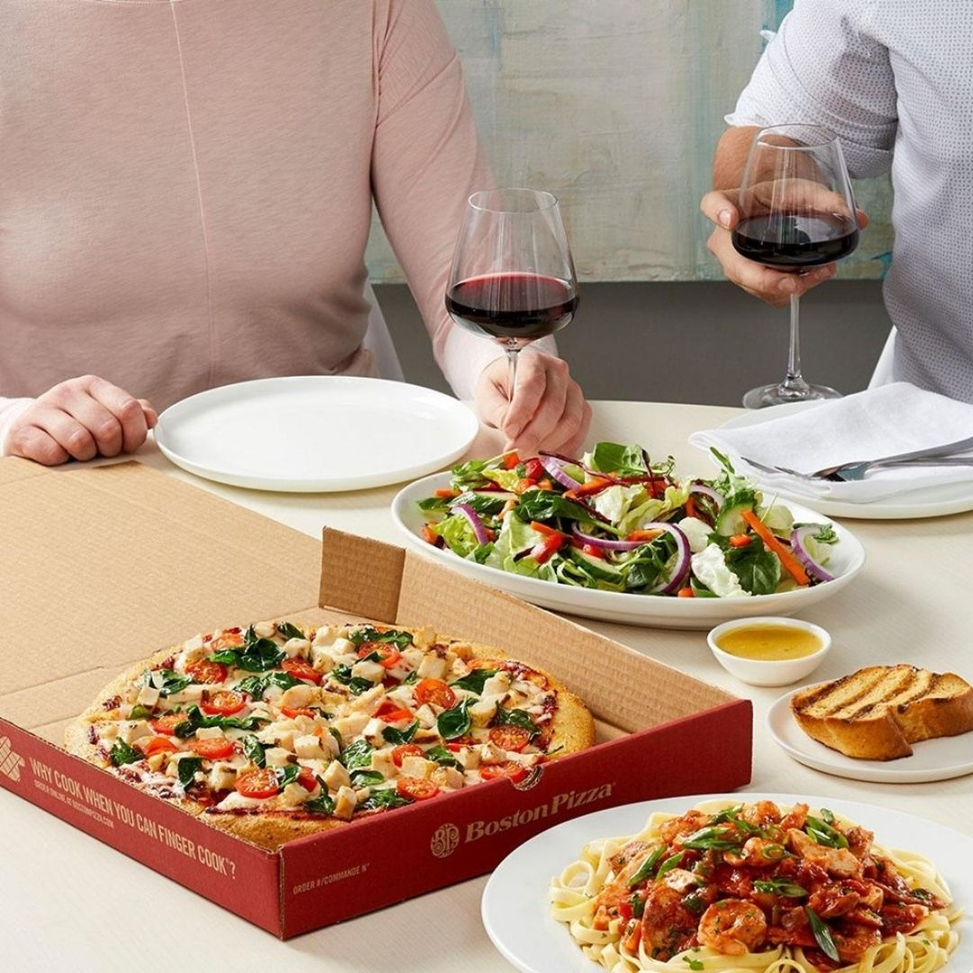 Pizza and wine takeout from Boston Pizza