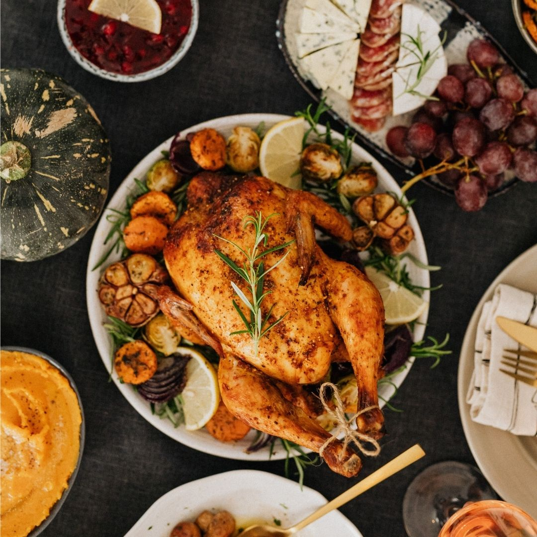 Turkey and a table of sides
