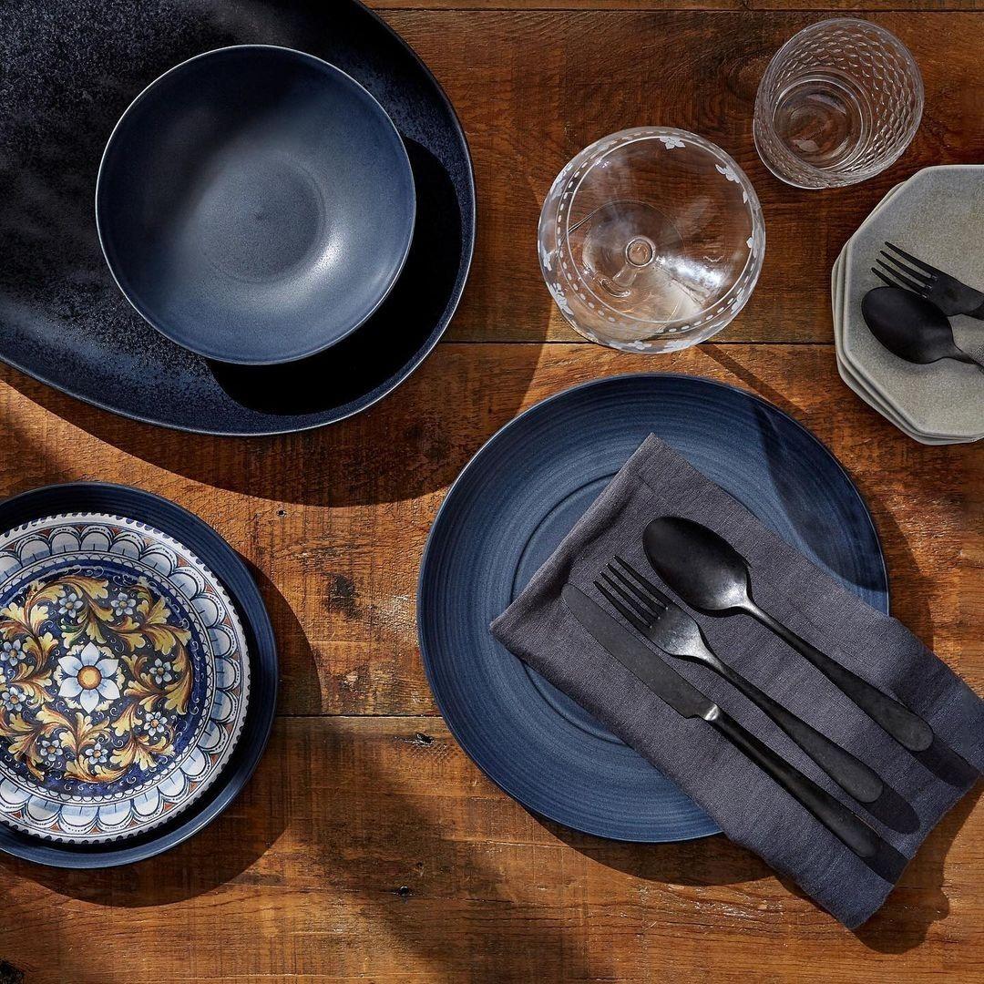 Dark blue side plates