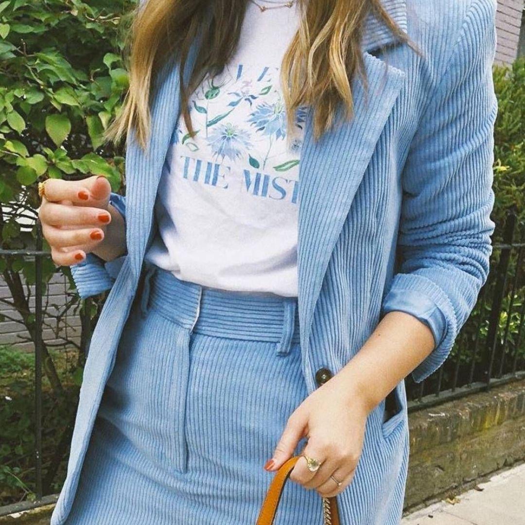 Blue corduroy blazer set